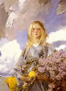 Oil painting James Jebusa Shannon - Michealmas Young Woman Holding Flower Canvas