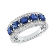 2.60 Tcw 14k White Gold Natural Oval Blue Sapphire Diamond Cocktail Ring Band