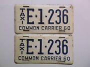 1960 '60 South Carolina Taxi License Plate Set Pair Auto Tag Common Carrier