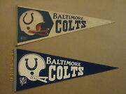 Nfl Baltimore Colts Vintage Defunct Lot Of 2 Football Pennants