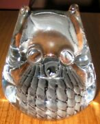 Ronneby Marcolin Vintage Glass Owl Paperweight