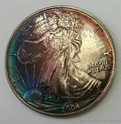 Original Monster Toning 2004 1 Silver American Eagle 1 Ozt .999 Silver Toned