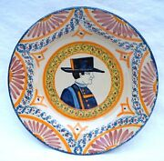 Henriot Quimper French Hand Painted Faience Plate Breton Corbeille Decor A