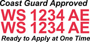 Red Boat Registration Numbers Decals Custom Vinyl Coast Guard Approved 3 Pair