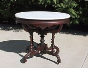 Victorian Walnut Oval Marble Top Fancy Parlor Center Lamp Table C1875
