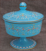 Ludwig Moser Bohemian Opaline Enamel Glass Footed Compote Bowl With Lid 1880