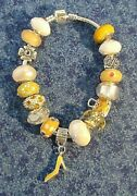 Yellow And White Murano Glass Bead And Crystal 8 Shoe Charm Bracelet 1478 Nwot