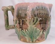 Etruscan Majolica Shell And Seaweed Pitcher Art Pottery Pink Green Brown As Is