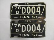 Pair 1957 Tennessee Taxi License Plate Tag