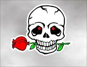 Skull Decal Sticker Rose In Mouth For Motorcycle Helmet Gas Tank Fits Harley