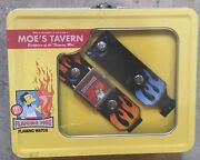 The Simpsons Collectible Moe's Tavern Flaming Watch In Tin Lunchbox New Rare