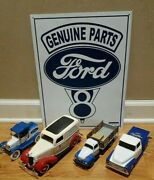 Lot Of 4 Vintage Diecast Ford Trucks + 12.5 X 16 Tin Sign Ford