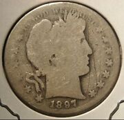 1897-s Barber Silver Half Dollar Nice Coin With Natural Uncleaned Patina