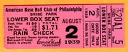 Vintage 1939 Philly A's/white Sox Ticket Stub-8/2/39-shibe Park