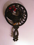 Vintage Cast Iron Footed Rooster-chicken Trivet