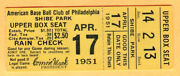 Rare 1951 Philly Aand039s Opening Day-senators-4/17/51-shibe Park-connie Mack Retired