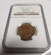 India Great Britain 1929c 1/4a 1/4 Anna Ngc Ms63 Bn Ms 63 Certified Indian Coin