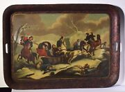 Antique 19С Russian Tray Meeting Cossacks During Escape Of Napoleon From Russia