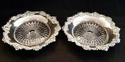 Pair Of Rare Mauser Sterling Silver And Brilliant Cut Glass Wine Coasters