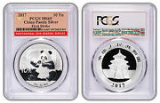 2017 10 Yuan Silver China Panda Pcgs Ms69 First Strike Red Flag Label Case 20