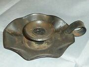Rare Antique Tin Plate Chamber Candle Holder, Go-to-bed.