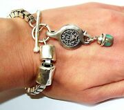 Silver 925 Plated Bracelet W Jewish Roman War Antique Drop Coin Turquoise
