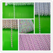 Applique Ss12 Jelly Ab 3mm Resin Rhinestone White Plastic Banding Chain 50yards
