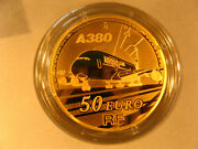 Golden 50 Euro Coin Airbus A380 France 2007 Proof Gold 999 Andpermil In Original Box