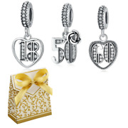 Silver 18th 50th 60th Birthday Anniversary Number Pendant Dangle Charms+gift Box
