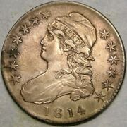 1814 Capped Bust Silver Half Dollar Very Rare Magnificent Beauty Single Leaf Rev