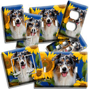 Collie Dog In Sunflowers Light Switch Outlet Wall Cover Grooming Pet Salon Decor