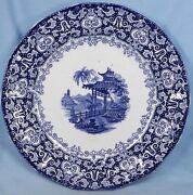 Antique Erford Blue Transferware Dinner Plate James Edwards Ironstone A Beauty