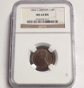 Great Britain 1884 Farthing 1/4p Ngc Ms 64 Bn Ms64 British Unc Certified Coin