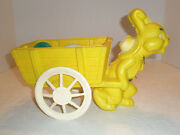 Vintage Easter Figural Toy Anthro Bunny Pulls Cart Plastic