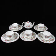 16-pc Set Minton Marlow Hand Painted Porcelain Teapot, Cups And Saucers And Plates