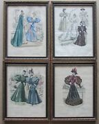 Set Of 4 19th C French Fashion Hand-colored Engravings Revue De La Mode Framed