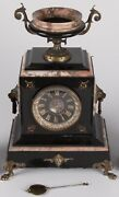 Antique French Polished Rouge Marble And Gold A. Besse. 8 Day Mantle Clock Running