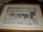 Vintage Barber Shop Wall-- Adam And Son In Front Of His Shop Signed--big No.53