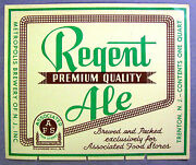 Associated Food Stores By Metropolis Brewery Regent Ale Beer Label Ny 32oz