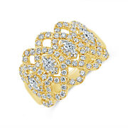 1.16 Ct 14k Yellow Gold Natural Marquise Cut Diamond Open Cocktail Lace Ring