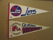 Wha Quebec Nordiques And Winnipeg Jets Vintage Defunct Lot Of 2 Hockey Pennants
