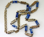 Antique Chinese Brass And Natural Lapis Lazuli Necklace 31 Long
