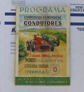1958 Portugal Grand Prix Race Program Signed By Sterling Moss