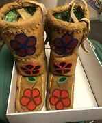 Vintage Fully Beaded High Top Moccasins On Hide, Cloth Liner . New Mexico