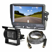 Rear View Reverse Backup Camera + Monitor For Rv Tractor Trailer Truck Bus Van
