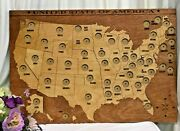 Handmade Wooden Us 50 States Quarter Map Quarter Coin Display Coin Collection