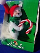 Persian White Kitten Christmas Candy Cane Ornament Annalee Dolls 3 ▬ 2015 ❤️