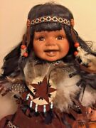 Vintage Native American Indian 12 Doll Head Dress Star Turquoise Beads Ooak