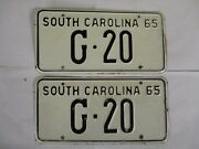 Pair Super 1965 South Carolina Low Number Truck License Plate Tag