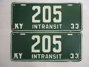 Pair Low Number 1933 Kentucky In Transit License Plate Tag